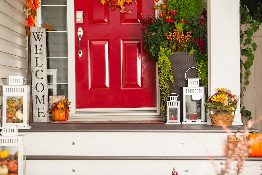 Front door fall decorations. Fall HVAC maintenance.